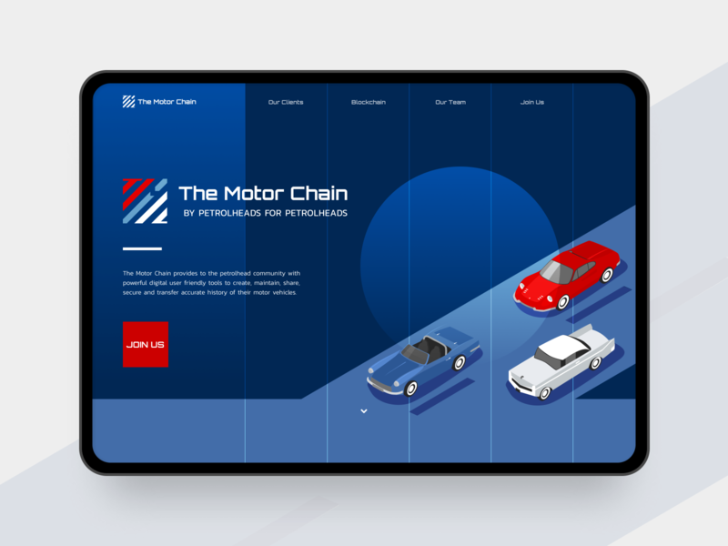 The Motor Chain Landing Page racing bue red webdesign website web startup digital illustration illusatration blockchain motor vehicle car landingpage landing page ui landing page landing ui ux