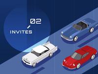 2 invites! vehicle invitation card red digital identity branding vector ui illustration blue invite giveaway invites invite
