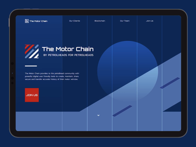 The Motor Chain landing page landing page design landingpage tablet website blockchain motor vehicles vehicle red car ux startup digital identity branding vector blue ui design illustration