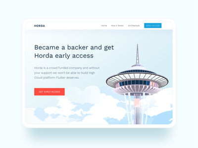 HORDA website design tablet seattle space needle clouds cloud vector blue header mainpage visual uiux ui landingpage landing desktop webdesign website web illustration concept