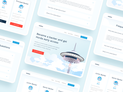 HORDA website UI horda seattle space needle cloud clouds clean dart flutter tablet desktop ux website digital blue ui vector illustration design