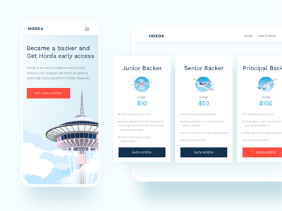 HORDA website UI horda interface pricing page space needle seattle backend flutter clouds cloud web mobile desktop ux website digital blue ui vector illustration design