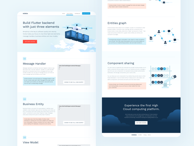 HORDA website UI clean designs landing page design backend flutter drone clouds cloud landing web mobile desktop website digital blue ui vector illustration design