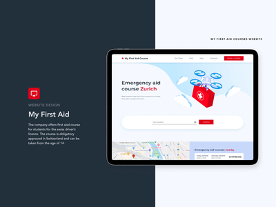 My First Aid Courses Website driving student swiss animation mobile tablet zurich switzerland courses emergency first aid desktop ux website blue digital illustration vector ui design