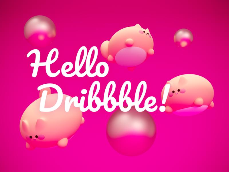 Hello Dribbble! illustration pink 3d art firstshoot cats hello dribbble
