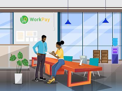 Office illustration human resource office plants office illustration vector nairobi landing page