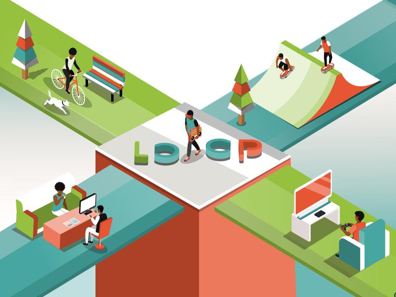 Isometric concept featuring cba loop isometric colorful isometric design vector kenya illustration