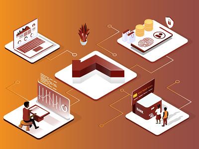 equity bank isometric concept tech bank isometric isometric illustrator illustration kenya