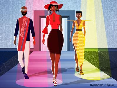 Nairobi Fashion Week illustration vector african models african models black models fashion catwalk