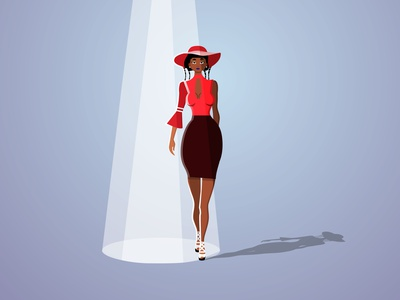 Mysterious lady red fashion catwalking fashion model africa illustration vector