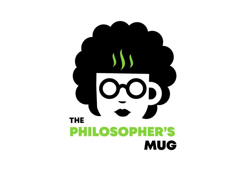 The philosopher's mug logo nerdy girl female philosopher coffee shop logo book club logo coffee