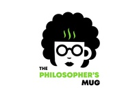 The philosopher's mug logo nerdy girl female philosopher coffee shop logo book club logo coffee