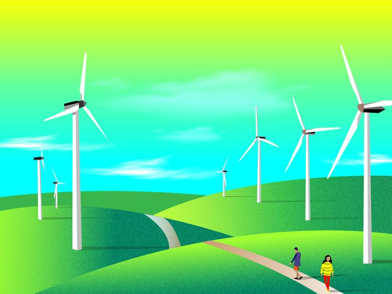Ngong windmill nairobi africa illustrator vector colorful windmill ngong kenya