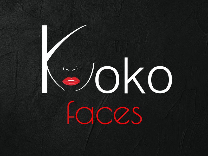 koko faces cosmetics lipstick face logo cosmetic illustrator vector logo