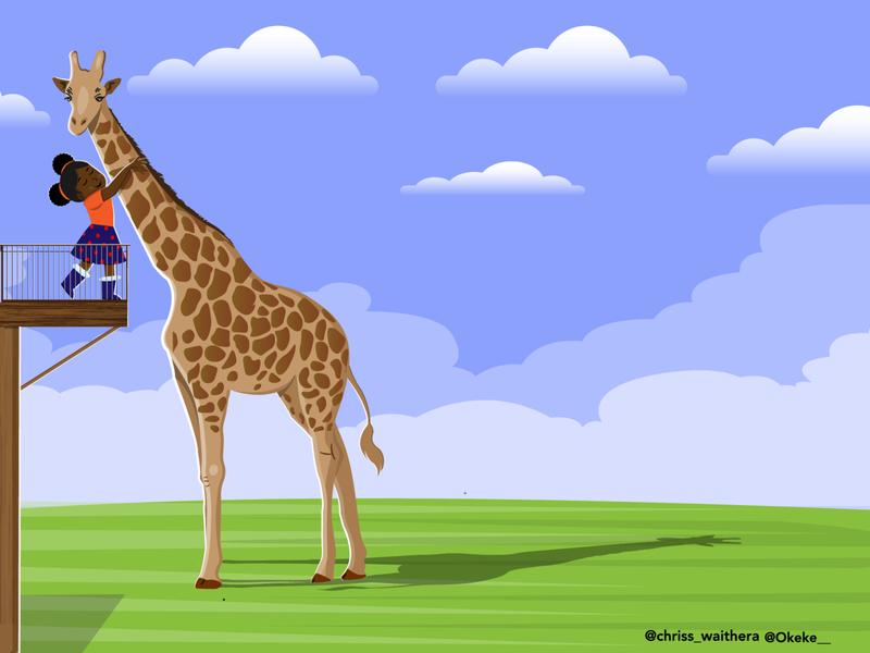 small girl and giraffe friend nairobi kenya illustration black girl illustration giraffe human and pet cute girl cute black girl giraffe