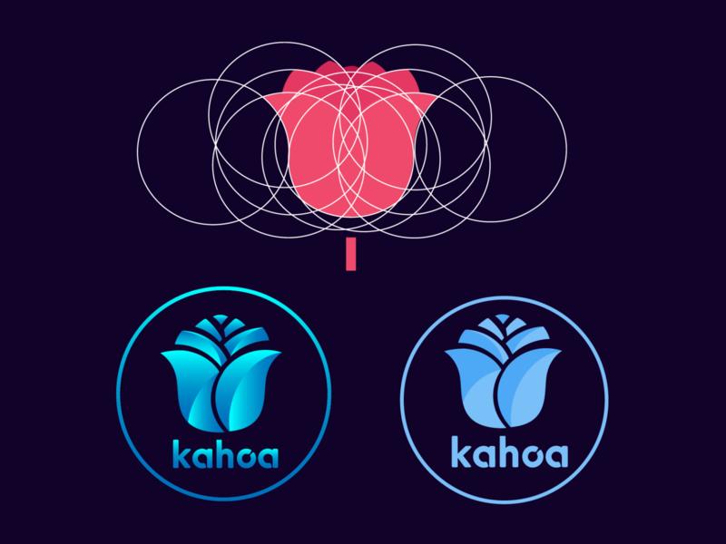 rose flower geometric logo illustrator kenya blue gradient flower geometric logo colorful illustration