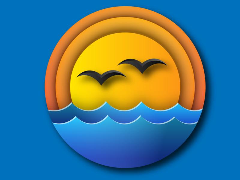 sunset paradise graphic design nairobi birds ocean waves colorful icon geometry logo gradient logo vector