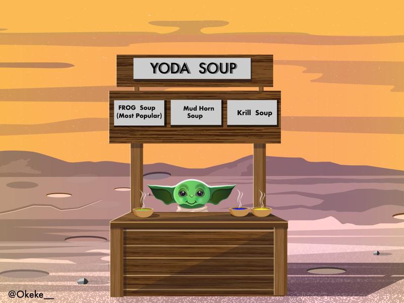 baby yoda selling soup africa kenya nairobi vector illustration mandalorian starwars soup yoda baby yoda