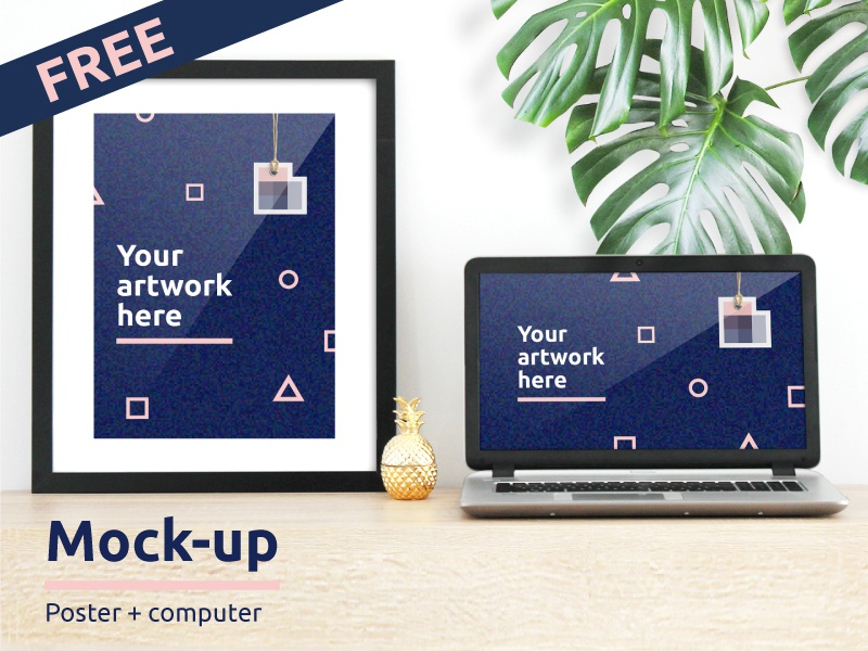 Free Poster and Computer Mockup! free design resources realistic photo figure geometric computer poster free mock-up mockup