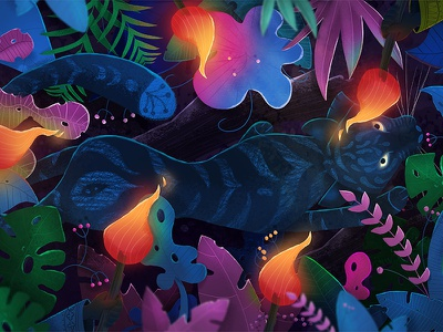 Tiger in a jungle - contest illustration photoshop intuos india drawing digital contest night kids childrensbooks childrensbook jungle book piórko2018 illustration leaves jungle tiger