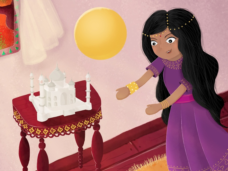 Saj and Prija throw a ball in the dining room hindu sculpture taj mahal child theme play ball sister brother girl boy india illustration design illustration digital childrens book kids child illustration mały saj i wielka przygoda piórko2018