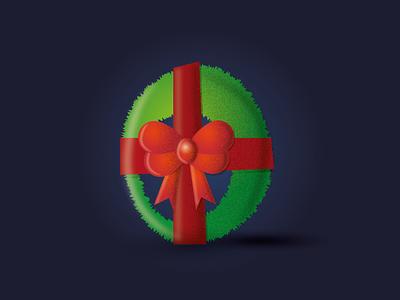4 days till Christmas! christmas ball ho ho no ho ho ho christmas card ribbon wreath christmas vector illustration