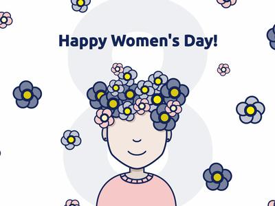 Happy Women's Day! womens day pink flower women vector design illustration