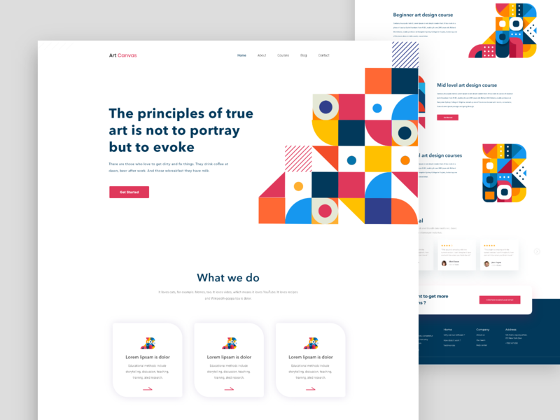 Art School Landing Page clean b2b sass bitcoin money dashboad ui ux android user experience user interface ui template mobile app ios android agency business finance user experience ux new trend clean website sketch design artwork art design website web landing page