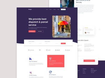 Courier Service Landing Page Design Concept user experience ux web deisgn user interface ui agency business finance new trend clean website courier service parcel website web landing page