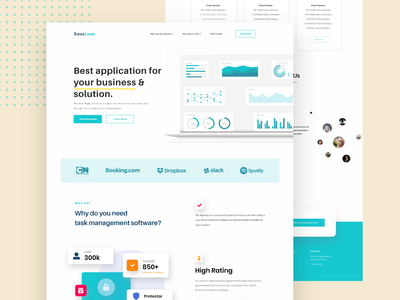 Saas Landing Page Design logo user interface ui design illustration template mobile app ios android new trend clean website bank credit debit card payment user experience ux agency business finance saas landing page web landing page