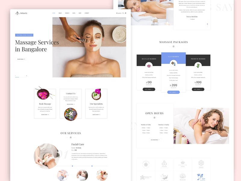 Spa Landing Page parlour agency business finance user experience ux bar branding women fashion spa new trend clean website massage therapy web landing page