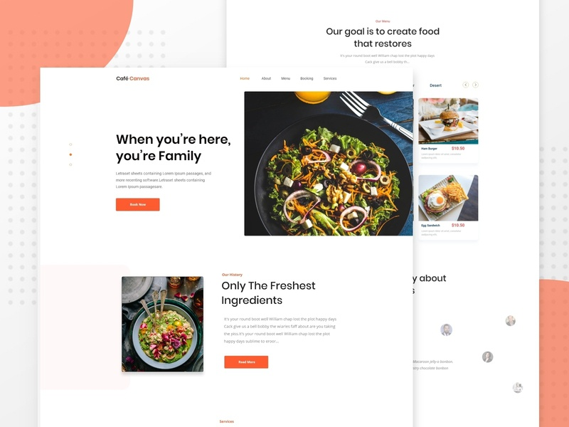 Home Page : Restaurant Website cafe restaurant website account management user experience ux new trend clean website agency business finance restaurant website template mobile app ios android web landing page
