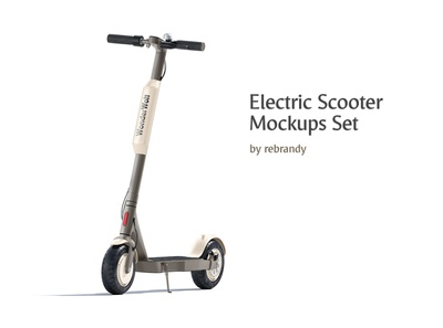 Electric Scooter Mockups Set automatic minibike scouter booking livery transport skouter scoter skuter excursion delivery electric rent hire banner skooter e-scooter scooter psd mockup
