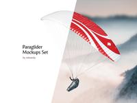 Paraglider Mockups Set adventure advertising logotype gliding banner extreme fly sport paragliding glider sail glide flight wing sky mockup paraplane parachute paraglide paraglider