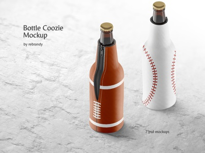 Bottle Coozie Mockup botle pack zipper case alchohol neoprene beer drink sleeve accessory download psd mockup
