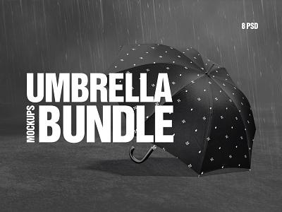 Umbrella Mockups Bundle sunshade gingham rainy bumbershoot canopy accessory protect weather autumn umbel umbrela umbrella bundle psd mockup