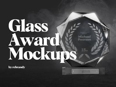 Glass Award Mockups reward awards medal statuette acrylic success achievement trophy cup download psd mockup