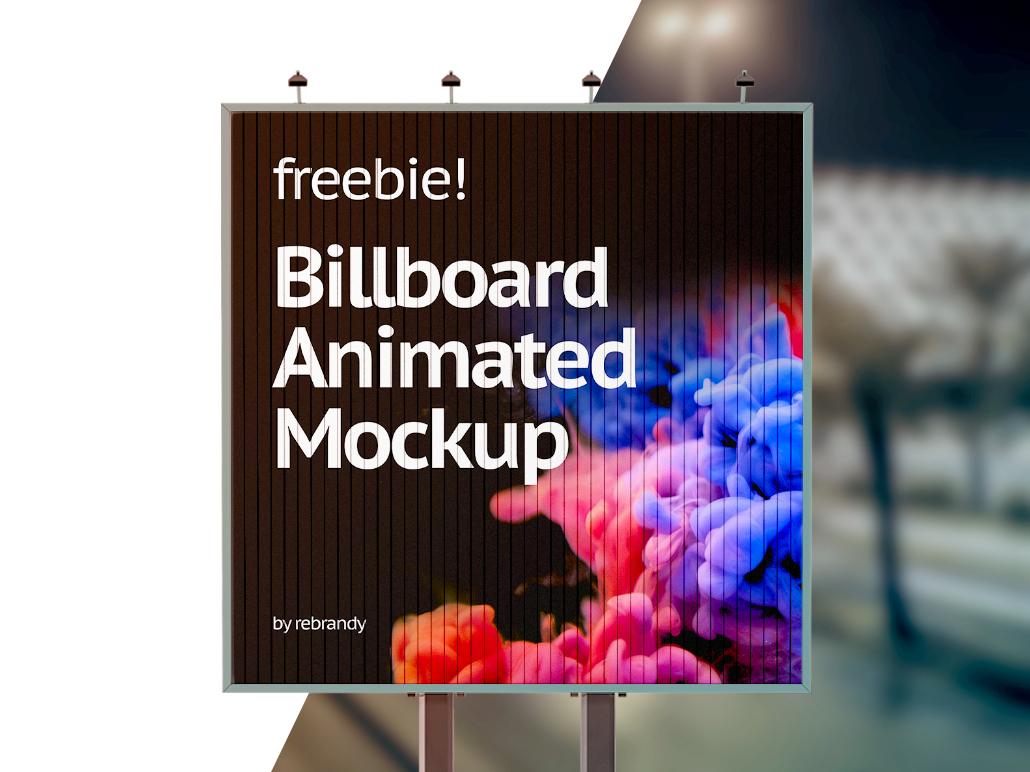 Billboard Animated Mockup design mock up free download gif video light box business advertising outdoor banner billboard animated freebie free download mockup psd