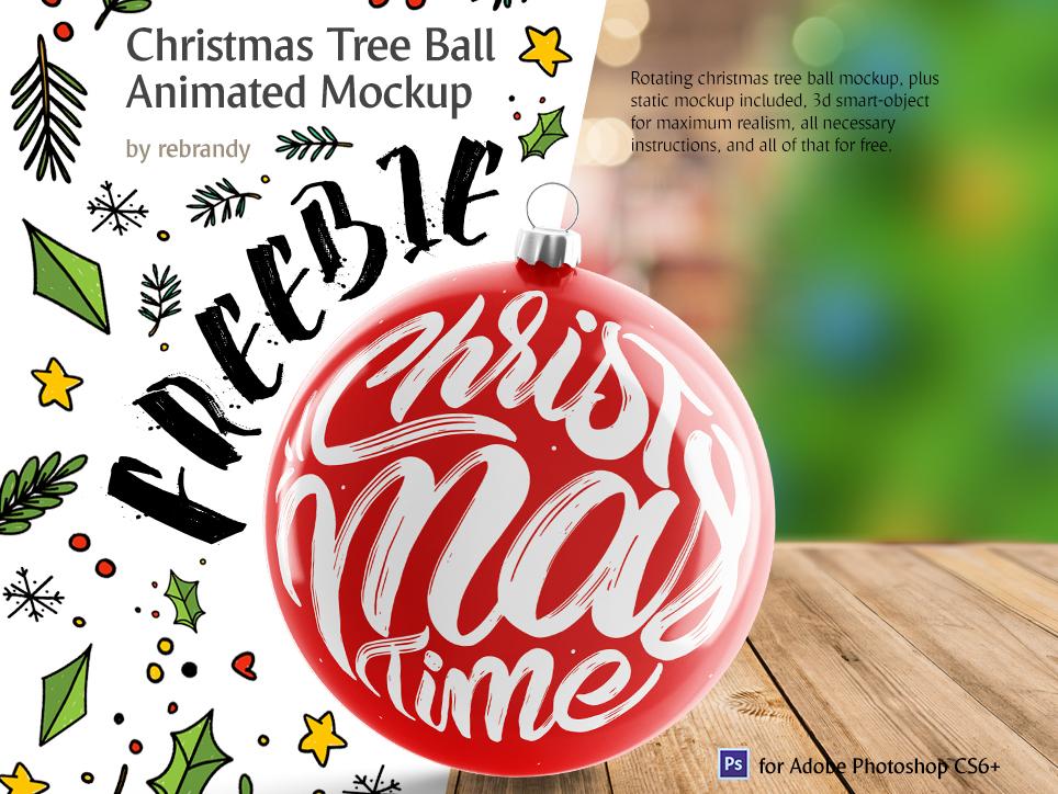Freebie! Christmas Tree Ball Animated Mockup globe santa new year xmas decoration ball toy pine tree christmas ball free download freebie free design animated mock up download psd mockup