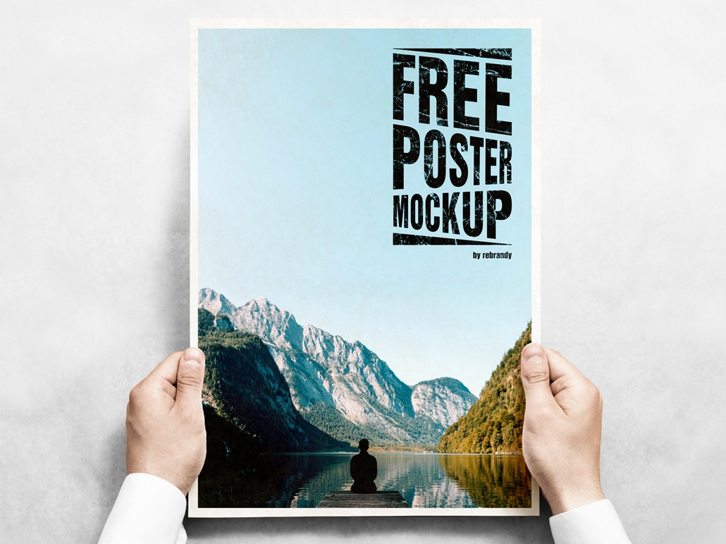 Freebie! Poster Mockup placard sheet canvas person brochure hand paper freebie free poster download psd mockup