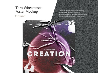 Torn Wheatpaste Poster Mockup adhesive wall old cinema movie a3 crumpled placard affiche torn propaganda paper wheat paste wheatpaste poster design mock up download psd mockup