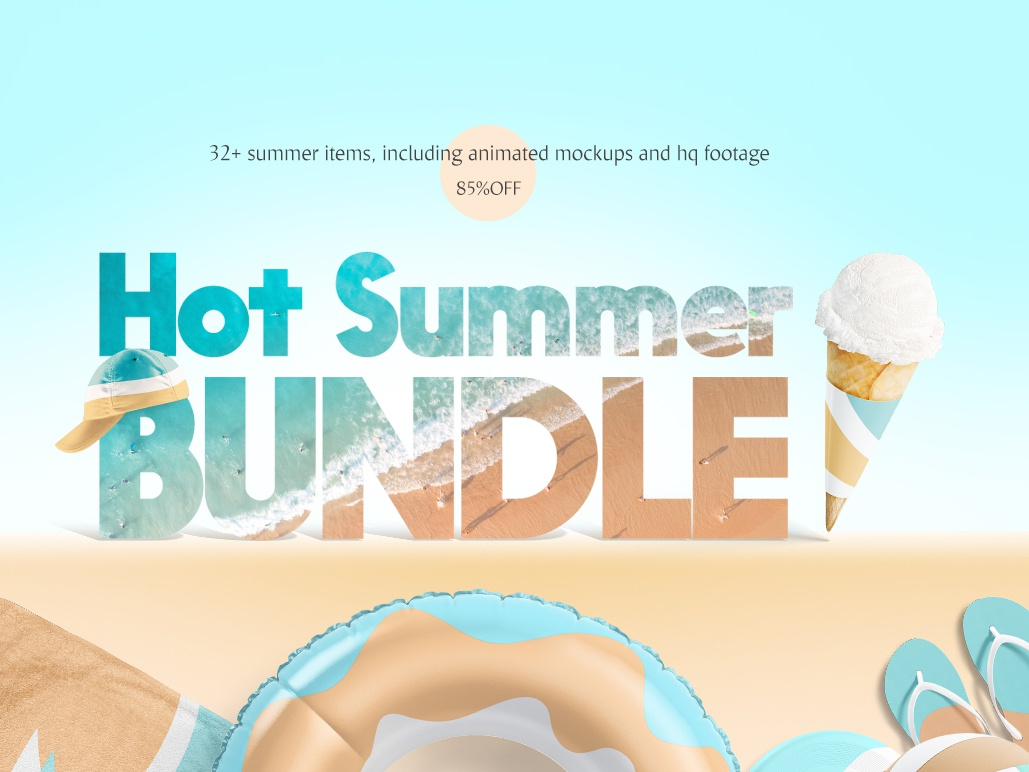 Hot Summer Mockups Bundle download psd cap baseball cap towel towels slippers ring swim clothing pool mock up toy beach summer video animated collection mockup bundle