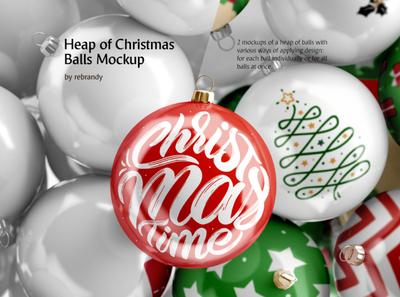 Heap of Christmas Balls Mockup
