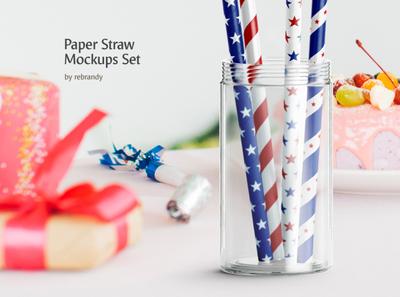 Paper Straw Mockups Set disposable drinking stick strawy cardboard tubelet soloma stripe cocktail juice tube bendy tubule water pipe drink beverage paper straw psd mockup