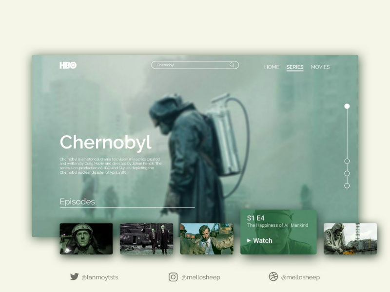 Chernobyl Web UI inspiration uidesign tvseries photoshop adobe design webdesign hbo uiux ui chernobyl