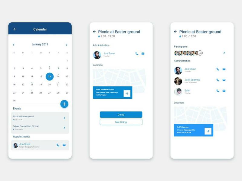 Calendar Appointment UI usage calendar design app adobexd adobe uidesign uiux