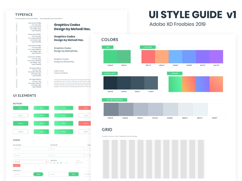 Creative UI Style Guide V1 (Adobe Xd Freebies) by Mehedi Hasan on