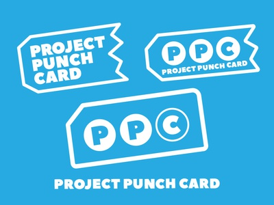 Project Punch Card Logo Options branding graphic design icon badge illustration graphic type logo typography design