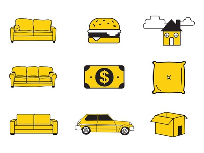 "Icons for ""A Guide to Living on Your Friends Couch"" illustration vector graphic design icon graphic design"