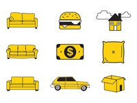 "Icons for ""A Guide to Living on Your Friends Couch"""